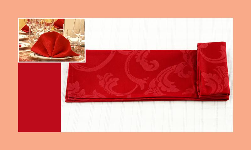Servietten nachfalten zu Hochzeitsdeko runder Tisch rot 6