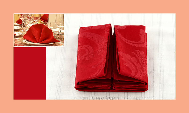 Servietten nachfalten zu Hochzeitsdeko runder Tisch rot 7
