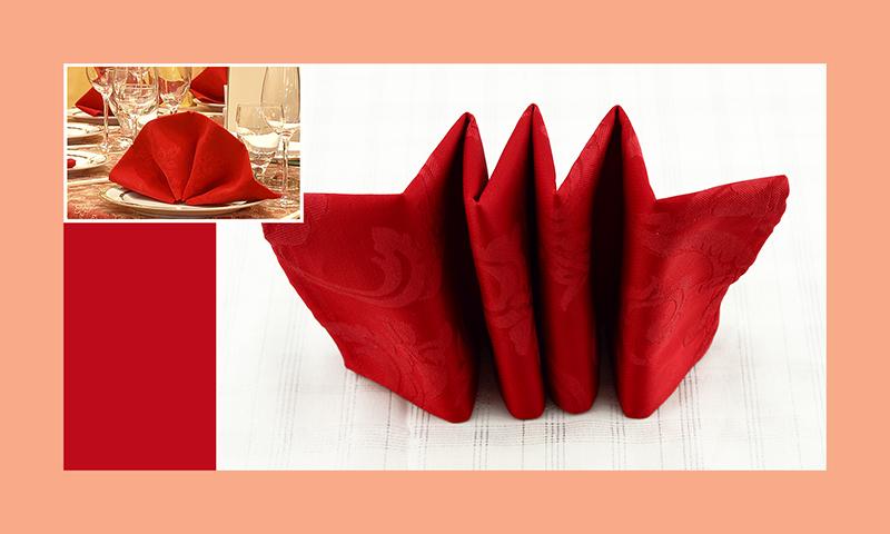 Servietten nachfalten zu Hochzeitsdeko runder Tisch rot 9